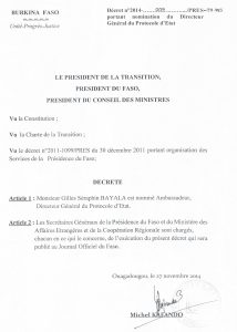 DG du Protocole d'Etat