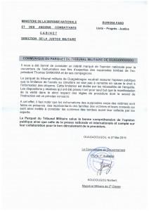 Communiqué du parquet du tribunal militaire de Ouagadougou