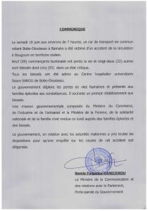 Communiqué accident au Mali