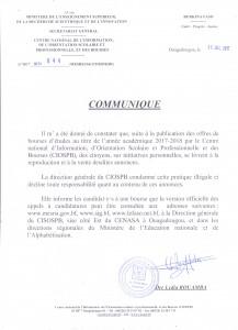 Communiqué CIOSPB